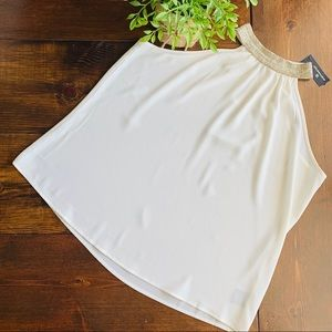 Wrothington cream sleeveless high jeweled neck